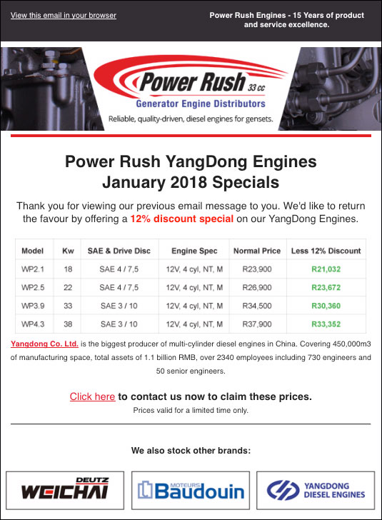 Specials and Discounts - Power Rush Specials flyer image